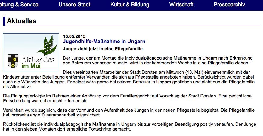 Presseerklärung Stadt Dorsten