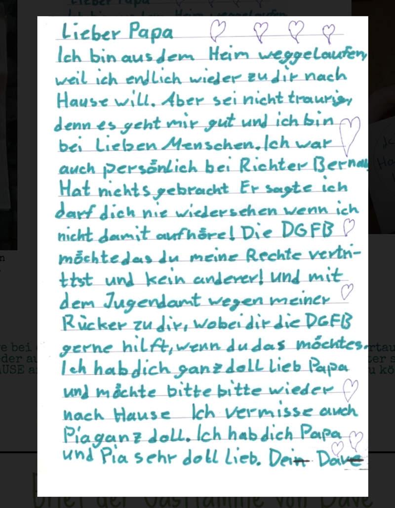 Brief von Dave Möbius